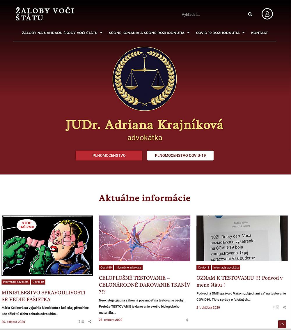 JUDr.Krajnikova - web ZALOBY VOCI STATU