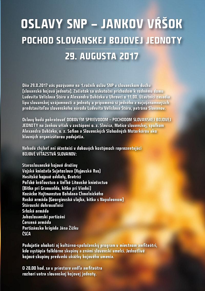 OSLAVY SLOVANSTVA A STATNOSTI NA JANKOVOM VRSKU 29. AUGUSTA 2017 (29.8.2017)