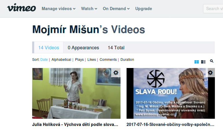 Vimeo - kanal Mojmir Misun