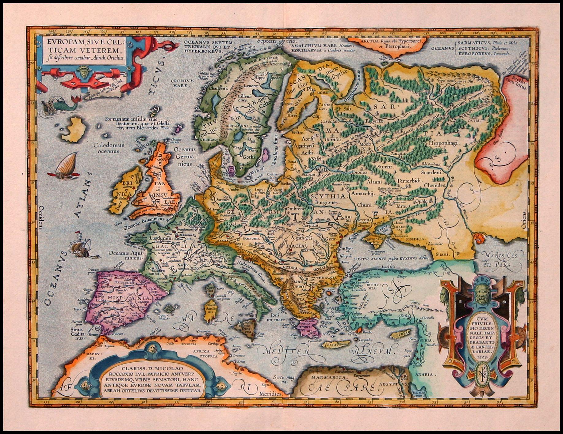 mapa Evropy - Skýtie v 6.století n.l. (Abraham Ortelius. 1527-1598)