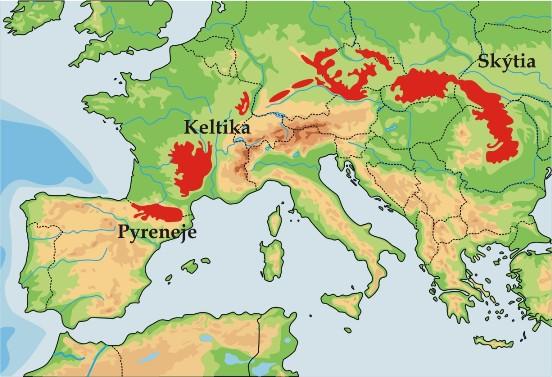 mapa Evropy a Skytie
