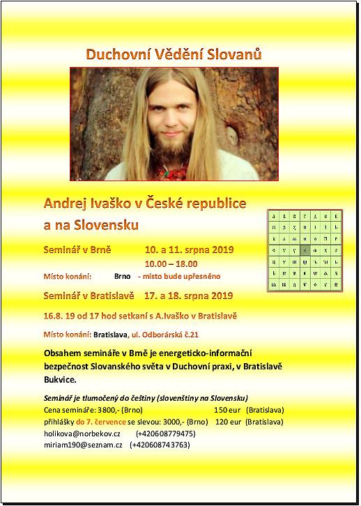 "Seminar Andreje Ivaska ""Duchovni Vedení Slovanu"" (letacek)"