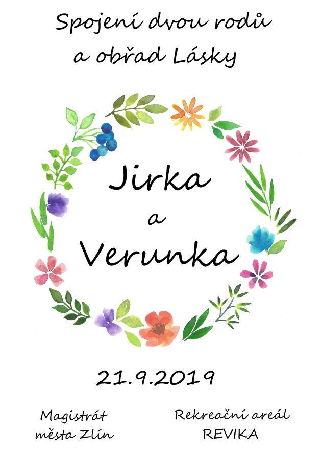 Svatební oznámení Jiřík a Verunka