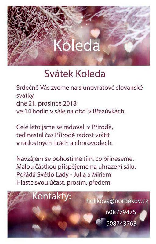 Svatek Koleda (21.12.2018, Brezuvky) - letacek