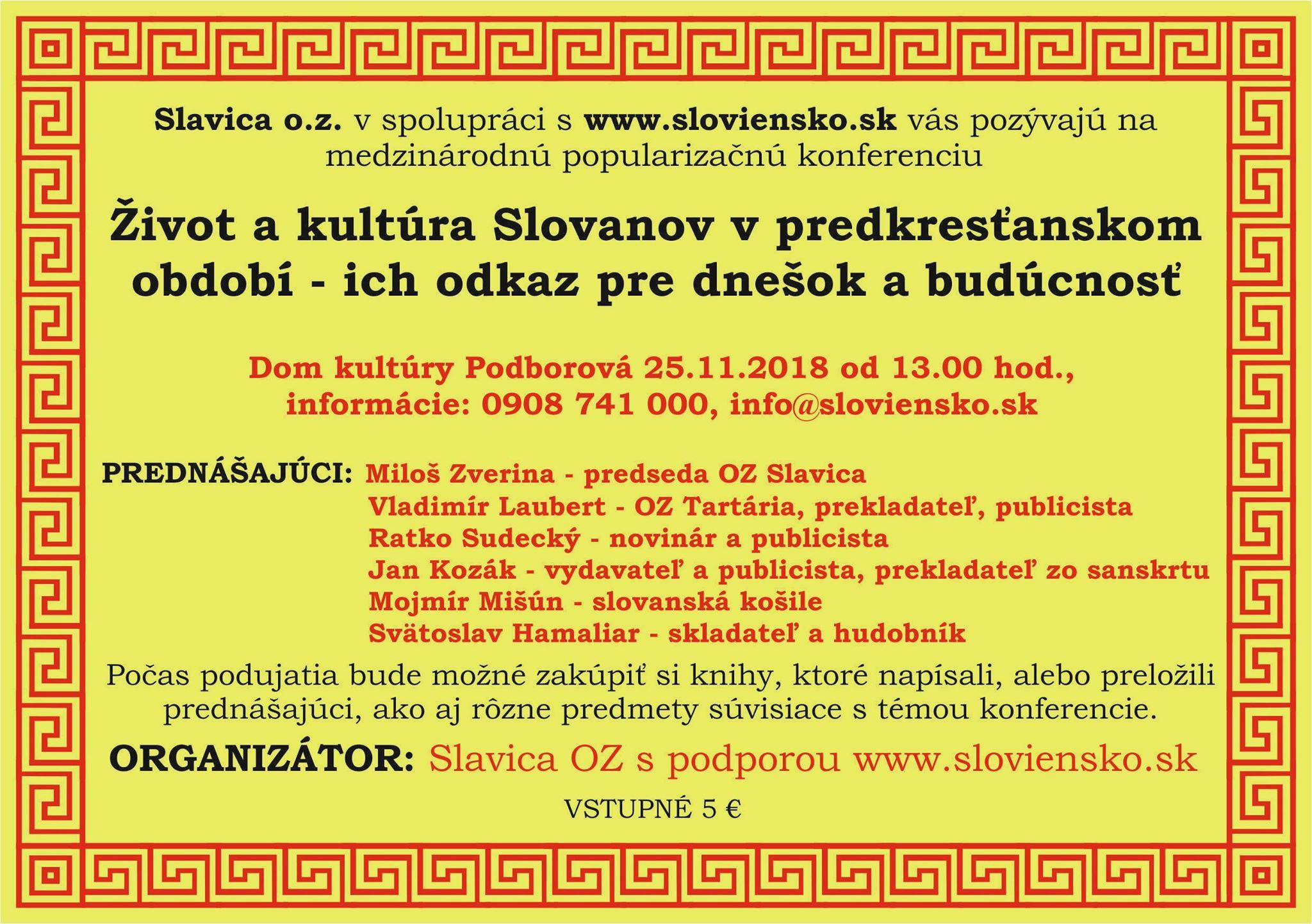 Zivot a kultura Slovanov (25.11.2018, Zvolen)