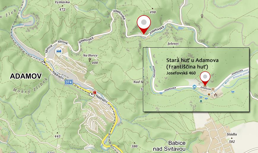 mapa - Adamov (Stará hut u Adamova)