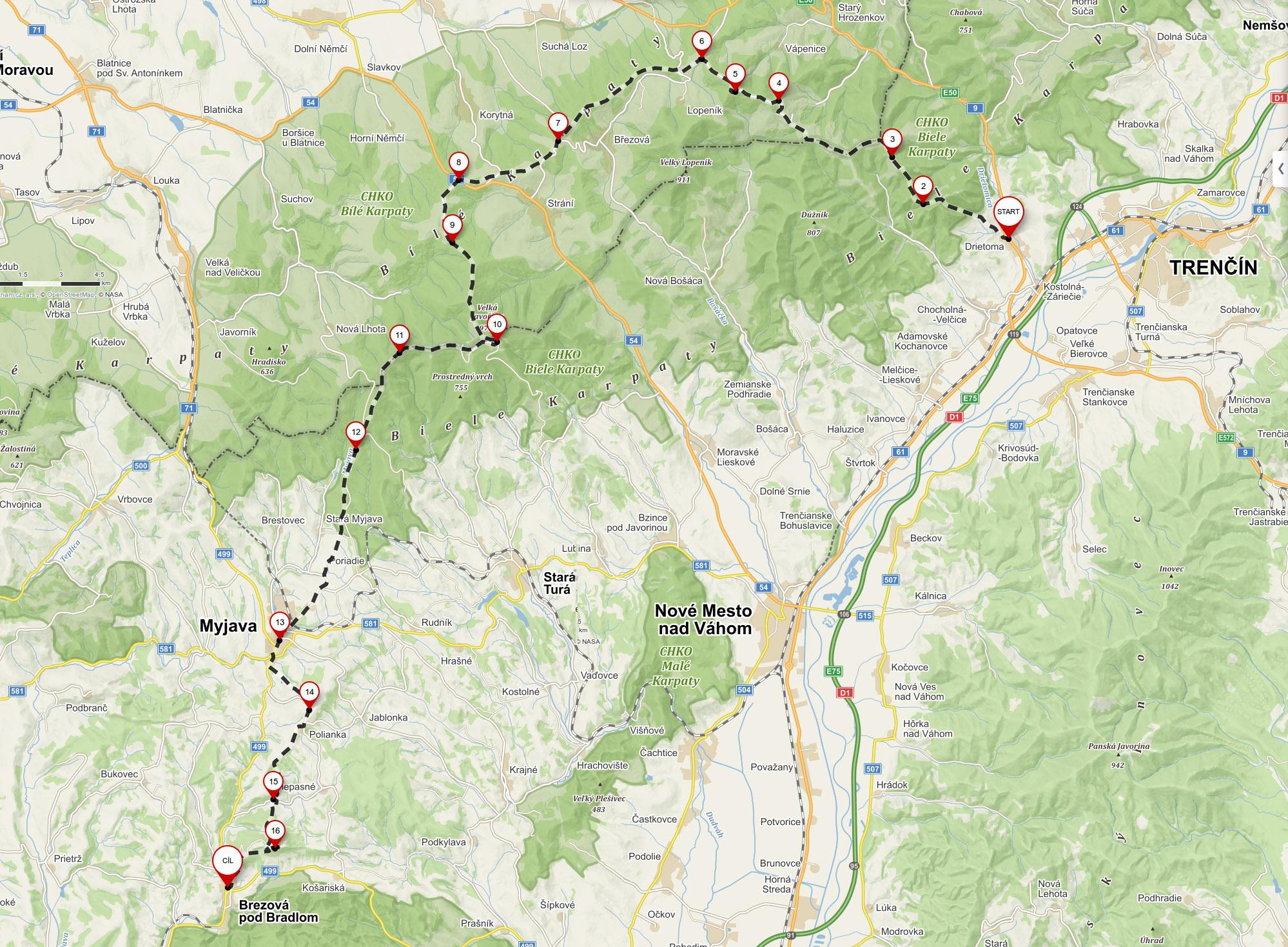 mapa Drietoma – Brezová pod Bradlom (65 km, 2 dni)