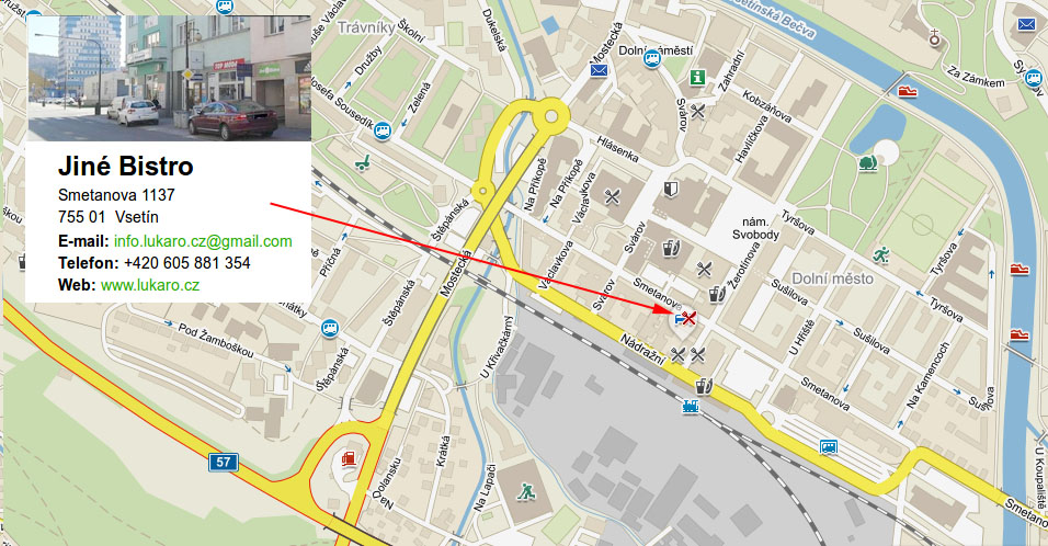 mapa - Jiné Bistro, Vsetín