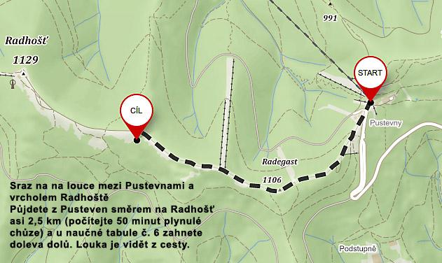 mapa - Letni den Boha Peruna na Radhosti