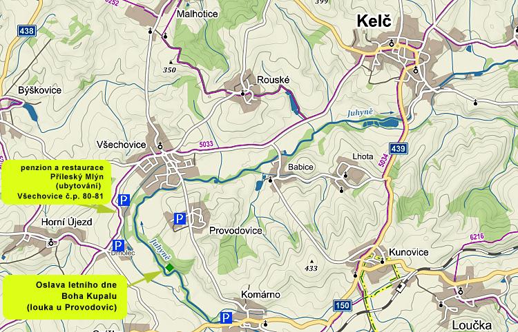 mapa - Oslava Kupalu u Provodovic