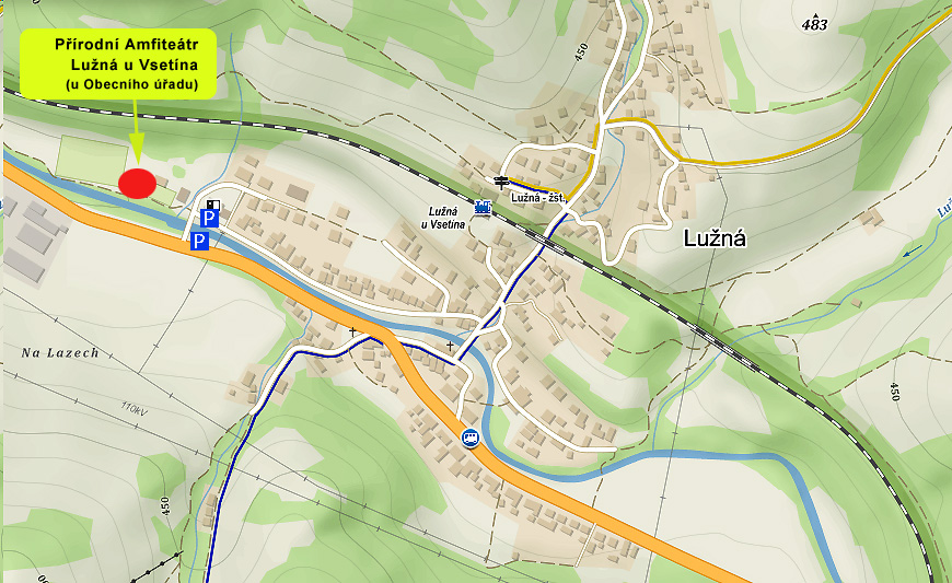 mapa - Prirodni Amfiteatr Luzna u Vsetina