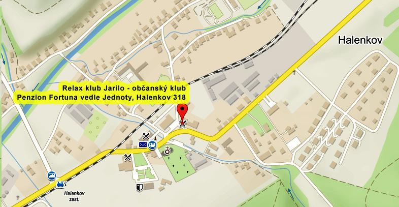 mapa - Relax klub Jarilo - obcansky klub, Halenkov 318