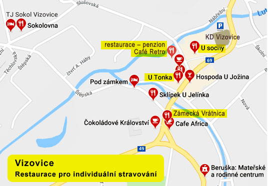 mapa Vizovic - restaurace a ubytovani