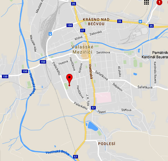 mapa - centrum Harmonie, Palackeho 49 - Valasske Mezirici