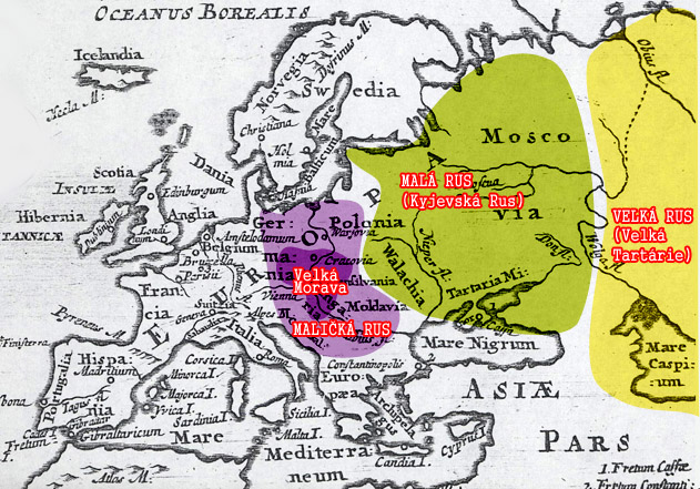 mapa Maličké, Malé a Velké Rusy (631 x 441)